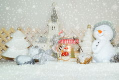 White Christmas - Snowman with winter snow background Royalty Free Stock Photos