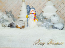 White Christmas - Snowman with winter snow background Royalty Free Stock Photography