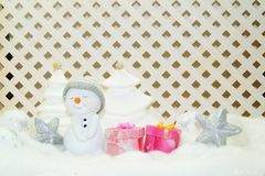 White Christmas - Snowman with winter snow background Royalty Free Stock Images