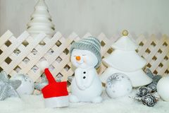 White Christmas - Snowman with winter snow background Stock Images