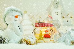 White Christmas - Snowman with winter snow background Stock Photo