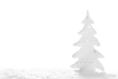 White Christmas: snowy tree on white background Royalty Free Stock Photo