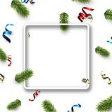 White Christmas square background with serpentine. New Year background with spruce branches and colorful serpentine. Vector illustration Royalty Free Stock Photos