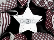 White Christmas star background. Christmas background with star hearts and tree black and white Royalty Free Stock Photography