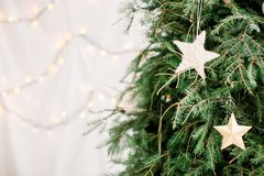 White Christmas stars suspended on a green spruce twig on white background stock photo