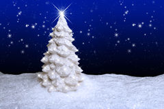 White Christmas Tree. A snow covered Christmas tree standing on snow covered ground and dark blue star filled night sky background Royalty Free Stock Image
