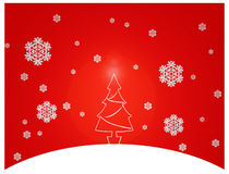 White christmas tree. And snowflakes in a red background Royalty Free Stock Photos