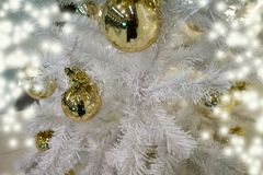 White christmas tree and ball decorated stock photography