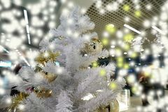 White christmas tree and ball decorated royalty free stock photos