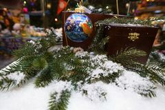 White christmas tree and ball decorated stock image