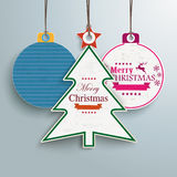 White Christmas Tree and Baubles Price Sticker PiAd. Infographic with price sticker the grey background Royalty Free Stock Photos