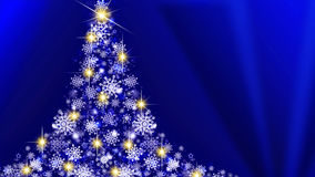 White Christmas tree on blue  background. Royalty Free Stock Images