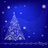 White christmas tree on blue background. With snowflakes, stars. Doodle, sketch. Vector Royalty Free Illustration