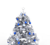 White Christmas Tree With Blue Decorations Stock Image