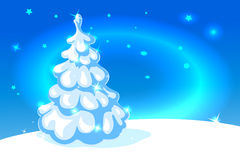 White christmas tree on blue shining background - vector Stock Photo