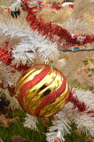 White Christmas tree color lights red and gold striped  ball ornament Royalty Free Stock Photo