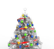 White Christmas Tree With Colorful Decorations Royalty Free Stock Images