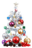 White christmas tree decorated with many presents Royalty Free Stock Photos