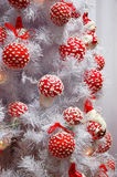 White christmas-tree with decoration Stock Images