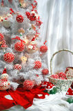 White christmas-tree with decoration Royalty Free Stock Photos
