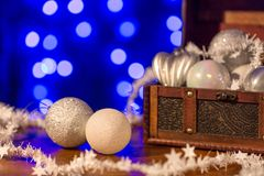 White Christmas tree decorations and blue background Royalty Free Stock Images