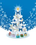 White Christmas tree on deep blue EPS10 Stock Images