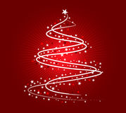 White Christmas tree design. Christmas tree illustration, white on red background Royalty Free Stock Images