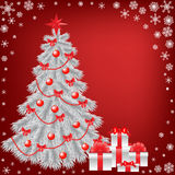 White christmas tree with gift Royalty Free Stock Photography