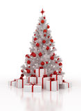 White Christmas tree with gift boxes on a white background. Festively decorated white Christmas tree with gift boxes on a white background Royalty Free Stock Photo