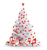 White christmas tree with gifts  3d render Royalty Free Stock Photography