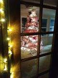 White Christmas tree through a glass door royalty free stock photography