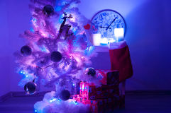 White christmas tree with golden decorations Royalty Free Stock Image