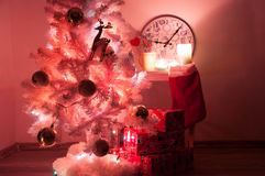 White christmas tree with golden decorations Royalty Free Stock Photos