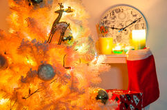 White christmas tree with golden decorations Royalty Free Stock Photo