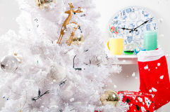 White christmas tree with golden decorations Royalty Free Stock Photography