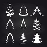 White christmas tree icons on chalkboard. Background. Vector illustration stock illustration