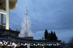 White christmas tree light space needle. A simple christmas tree in front of Space Needle, Seattle stock photography