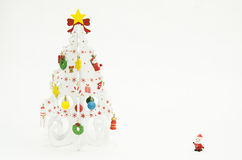 White Christmas tree and little santaclaus Stock Image