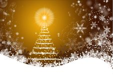 White Christmas tree over golden background Stock Photography