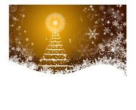 White Christmas tree over golden background Royalty Free Stock Photography