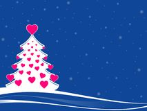 White christmas tree with pink hearts. Abstract christmas tree with pink hearts decorations. white xmas tree against a blue background and white snowflakes Stock Photos