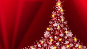 White Christmas tree on red background. Stock Images