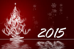 White Christmas tree with red background 2015 Stock Photo