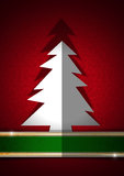 White Christmas Tree on Red Background Stock Image