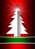 White Christmas Tree on Red Background Royalty Free Stock Photos