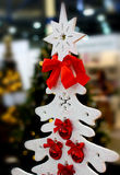 White Christmas tree with red balls Royalty Free Stock Photography