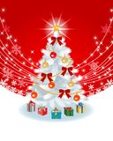 White Christmas tree on Red EPS10 Royalty Free Stock Photos