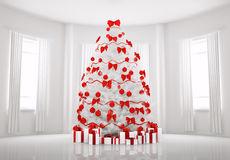 White Christmas tree in the room interior 3d Royalty Free Stock Photos