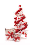 White christmas tree with silver gift box Stock Photo
