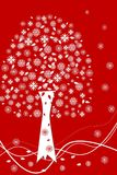 White Christmas tree with snow. White Christmas tree with white snowflakes on red background Royalty Free Stock Photo